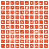 100 medical icons set grunge orange. 100 medical icons set in grunge style orange color isolated on white background vector illustration Royalty Free Stock Photo