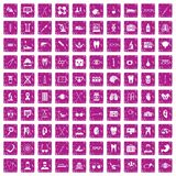 100 medical icons set grunge pink. 100 medical icons set in grunge style pink color isolated on white background vector illustration Stock Photos