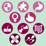 Medical icons set. Illustration on green background Stock Image