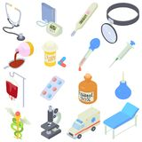 Medical icons set, isometric style. Medical icons set. Isometric illustration of 16 medical icons for web royalty free illustration