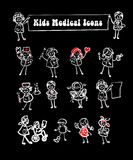 Medical icons set,kids. Black background medical icons set,kids cartoon kids & medical staff, medical equipments and people vector royalty free illustration
