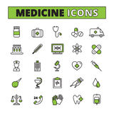 Medical Icons Set. Medical line icons set with ambulance treatment and research symbols flat  vector illustration Royalty Free Stock Photography