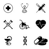 Medical Silhouette Icons Set for Nine Spheres royalty free illustration