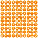 100 medical icons set orange. 100 medical icons set in orange circle isolated on white vector illustration Royalty Free Stock Image
