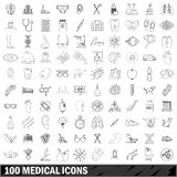 100 medical icons set, outline style. 100 medical set in outline style for any design vector illustration Stock Photos