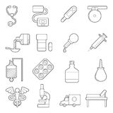 Medical icons set, outline style. Medical icons set. Outline illustration of 16 medical vector icons for web stock illustration