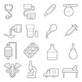 Medical icons set, outline style. Medical icons set. Outline illustration of 16 medical icons for web stock illustration