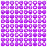 100 medical icons set purple. 100 medical icons set in purple circle isolated on white vector illustration Royalty Free Stock Image