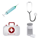 Medical icons. A set of medical related elements on a white background Stock Image
