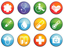 Medical icons set. Medical round glossy icons for web site and user interfaces stock illustration