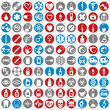100 medical icons set. 100 medical icons set, simple vectors collection Stock Photos