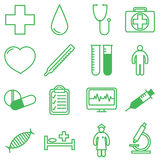 Medical icons set. Vector illustration in linear (flat) design. Stock Photography