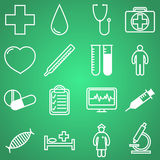 Medical icons set. Vector illustration in linear (flat) design. Royalty Free Stock Photography