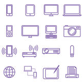 Medical icons set. Vector illustration in linear (flat) design.Gadgets and technology icons set, linear style. Vector illustration Royalty Free Stock Photo