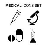 Medical icons set. Vector illustration. Medical and science icons set. Silhouette vector illustration Royalty Free Stock Photography