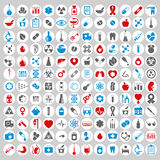 Medical icons set, vector set of 144 medical and medicine signs. Stock Photography