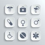 Medical icons set - vector white app buttons. With first aid kit caduceus pills man woman gender and disabled symbols Royalty Free Stock Photography