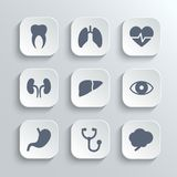 Medical icons set - vector white app buttons Stock Photos