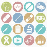 Medical icons set. Vector white icons medical set 16 with color circle stock illustration