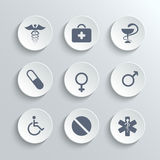 Medical icons set - vector white round buttons Stock Photography