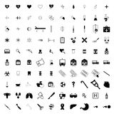 100 Medical icons set. On white background Royalty Free Stock Images