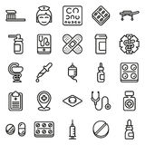 Medical icons set  on white background. Created For Mobile, Web, Decor, Print Products, Applications. Vector illustration Royalty Free Stock Photos