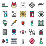 Medical icons set  on white background. Created For Mobile, Web, Decor, Print Products, Applications. Vector illustration Stock Photos