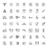 Medical icons set on white background. Thin line medical icons set on white background Royalty Free Stock Photography
