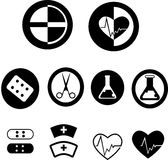 Medical icons. Silhouette of medical icons created in vector format Stock Photo