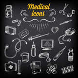 Medical icons, sketch design. Healthcare drawing chalkboard. Royalty Free Stock Images
