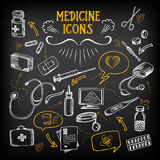 Medical icons, sketch design. Healthcare drawing chalkboard. Stock Photo