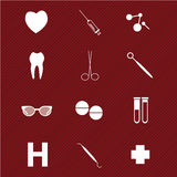 Medical icons. On special red background Stock Photography