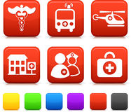 Medical Icons on Square Internet Buttons Royalty Free Stock Photos