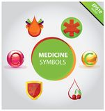 Medical icons and symbols vector set Stock Photos