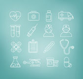 Medical Icons in Thin Line Design Style Royalty Free Stock Photo