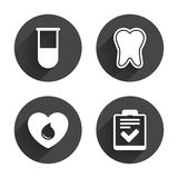 Medical icons. Tooth, test tube, blood donation Royalty Free Stock Images