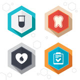 Medical icons. Tooth, test tube, blood donation Stock Photo