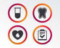 Medical icons. Tooth, test tube, blood donation. Medical icons. Tooth, test tube, blood donation and checklist signs. Laboratory equipment symbol. Dental care stock illustration