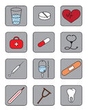 Medical icons. Twelve color medical icons on white background Royalty Free Stock Image
