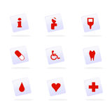 Medical icons vector. Vector illustration as icon set for medical and health care subjects, pills, blood, dental care, heart and first aid related Stock Photo