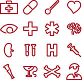 Medical icons (vector). Single line icons of medical themes in red (vector vector illustration