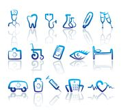 Medical icons. Vector illustration. Icons with doodles medicine symbols. Vector illustration Stock Photo