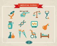 Medical icons. Vector illustration. Set of medical icons in a retro style. Vector illustration Stock Images