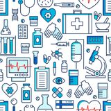 Medical icons vector seamless pattern. Health care sign collection. Medicine equipment silhouette illustration Royalty Free Stock Photos