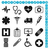 Medical icons vector set. Vector set collection of 16 medical and health care related icons, rounded and squared version included. Editable EPS file available vector illustration