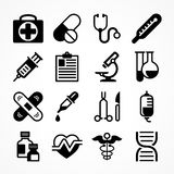 Medical icons on white. Background. Medicine symbols in grey. Vector illustration Royalty Free Stock Images