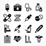 Medical icons on white. Background. Medicine symbols in grey. Vector illustration Royalty Free Stock Photos
