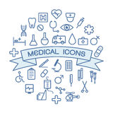 Medical icons on white background Stock Images