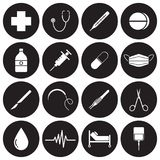 Medical Icons White On Black Circles. Vector Easy-To-Use 16 White Medical Flat Icons In Front Of Black Circles On White Background Categorized Into Four Groups vector illustration