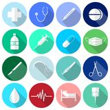 Medical Icons White & Long Shadow. Vector Easy-To-Use 16 White Medical Flat Icons In Front Of Colorful Circles On White Background Categorized Into Four Groups vector illustration
